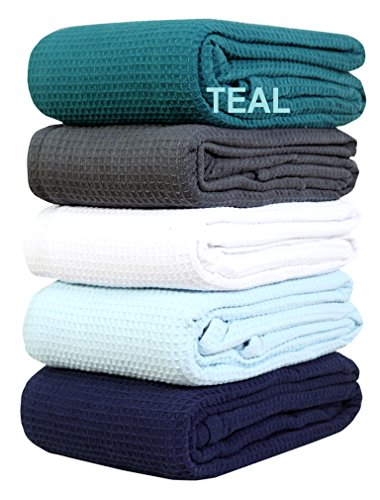 All season Cotton Thermal Blanket in Waffle Weave Design - Perfect for Layering Any Bed, Twin, Teal color Size 60x90 inch offered by Linen Clubs (Chevron Bedding Walmart)
