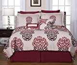 Pointehaven 12-Piece 100-Percent Cotton Luxury Bedding Ensemble, Cherry Blossom, King