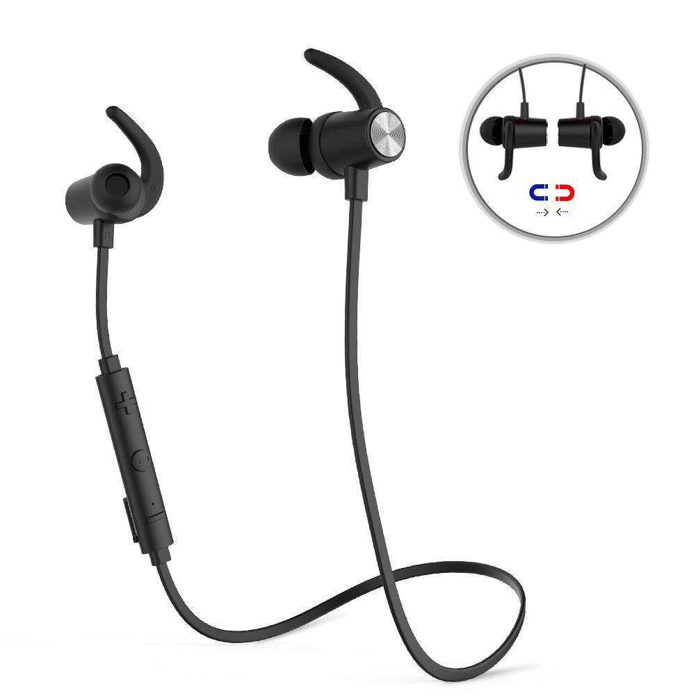 dodocool蓝牙4.1磁性耳机无线运动入耳式立体声降噪高清麦克风CVC 6.0适用于iPhone,三星,HTC,索尼,iPad及其他黑色智能手机和平板电脑