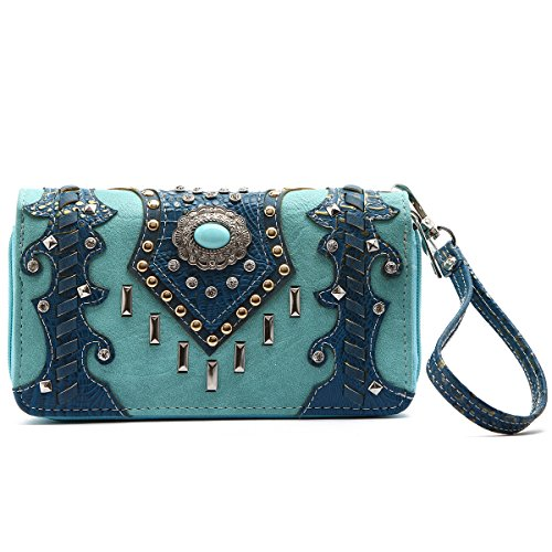 quoise Round Stone Concho with Studded Bars Wallet (Trendy Western Wallet)