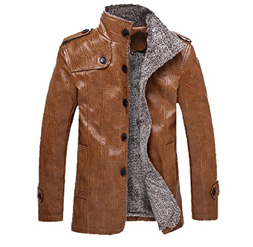 Howme-Men Coat Jacket Button Up Plus Velvet Casual Thicken Faux Leather Coat Coffee