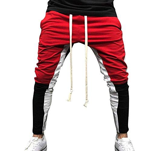 Birdfly Men's Unique Patchwork Jogging Running Casual Pencil Pants with Pocket Trouser Plus Size 2L 3L (L, ()