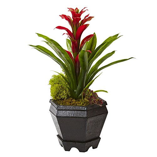 Nearly Natural 6927-RD Bromeliad in Black Hexagon Planter