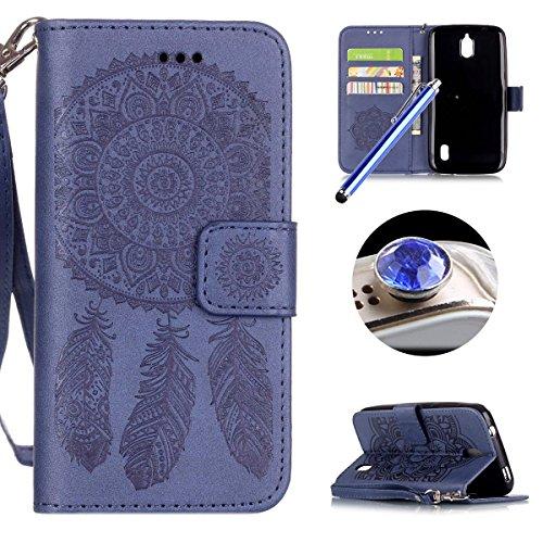 [ Huawei Y625 ] Funda Protector de Funda para Telefono Movil,Huawei Y625 Funda Caso de PU Cuero Leather,El Patrón de la Tribu Retro Moda Funda para Huawei Y625,Flip Folio Bookstyle con Cierre Magnétic Campánula Azul