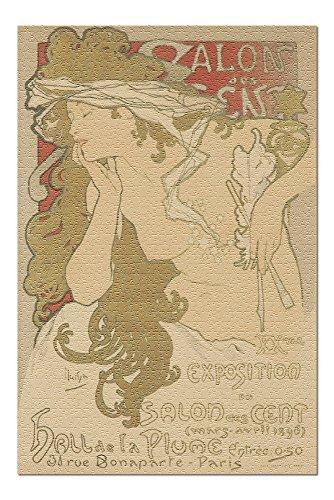 Sallon des Cent - XXme Exposition Vintage Poster (artist: Mucha, Alphonse) France c. 1896 (20x30 Premium 1000 Piece Jigsaw Puzzle, Made in USA!) ()