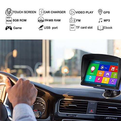 Xgody 886BT 7'' Capacitive Touchscreen Bluetooth Car Truck GPS Navigation 256MB RAM 8GB ROM SAT NAV System Navigator with Lifetime Maps
