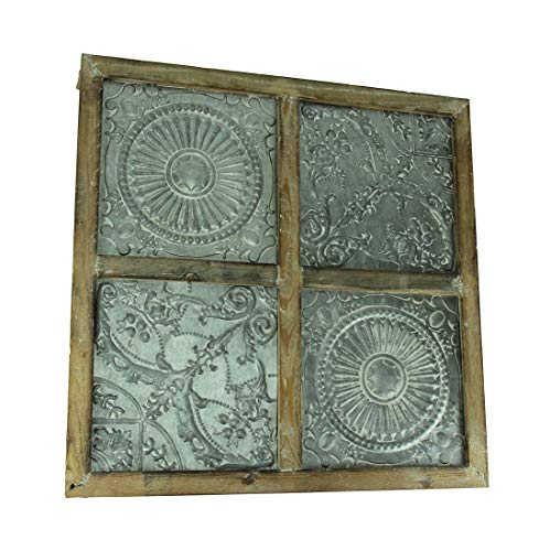 - Things2Die4 Embossed Metal Floral Medallion in Wood Frame Wall Hanging