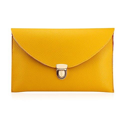 GEARONIC TM Fashion Designer Women Handbag Tote Bag PU Leather Shoulder Ladies Girls Purse Teens For Beach Travel Work Evening Day School Yellow