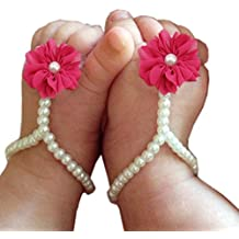 Bestjybt Baby Girl Pearl Chiffon Foot Flower Shoes Barefoot Sandals