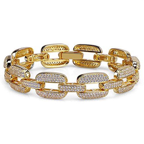 Gold Chain Pave Bracelet (TOPGRILLZ 15mm Hip Hop Iced Out CZ Cluster Mariner Link Bracelet (Gold))