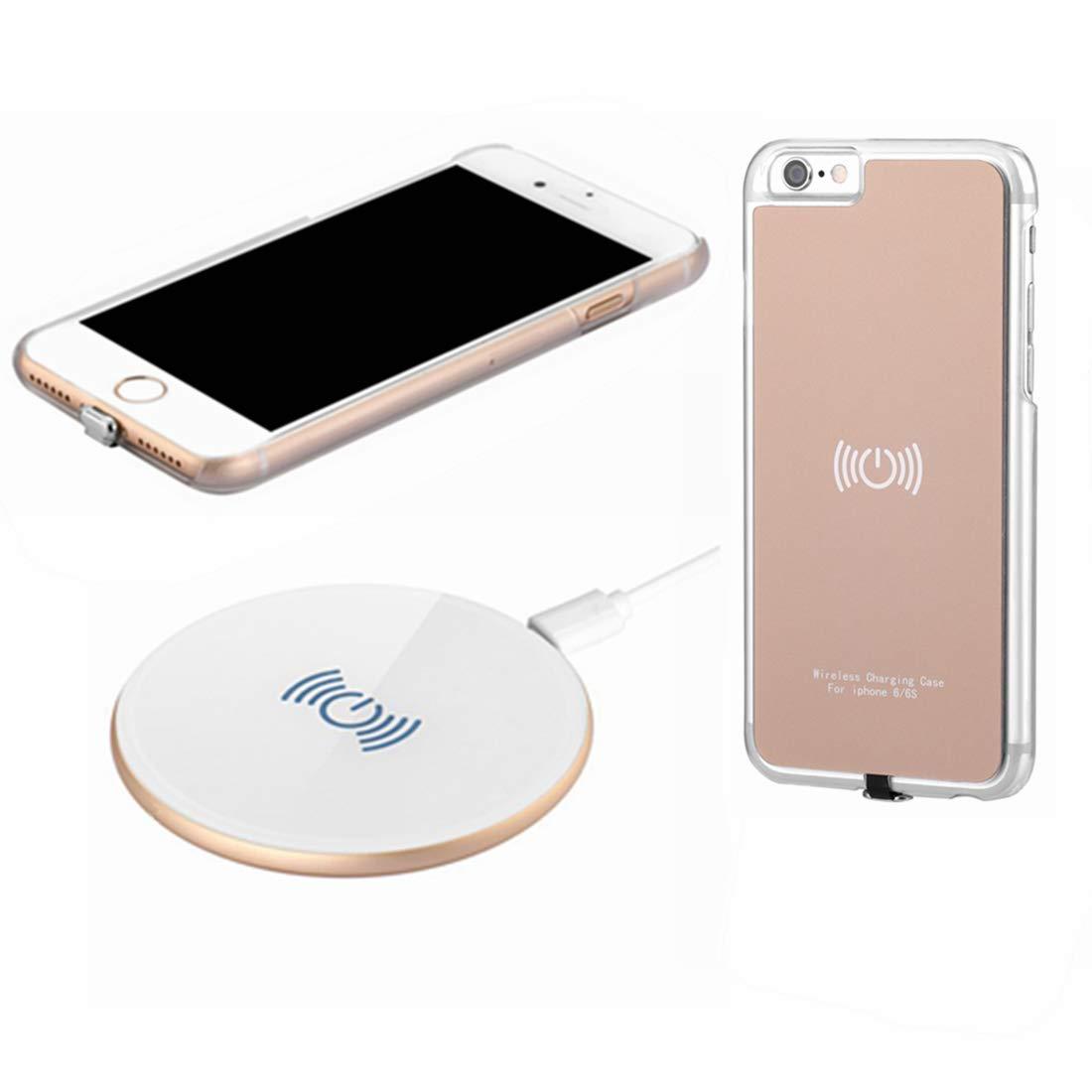 hanende Kit de Cargador Inalámbrico para iPhone 6, [Sleep-Friendly] Qi Cargador Inalámbrico y Receptor Inalámbrico Caso para iPhone 6 (Oro Negro)
