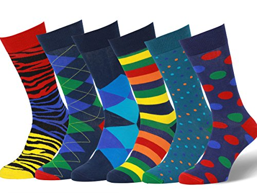 Easton Marlowe Mens - 6 PACK - Colorful Patterned Dress socks - 6pk #11, mixed - neutral main colors, 43-46 EU shoe size