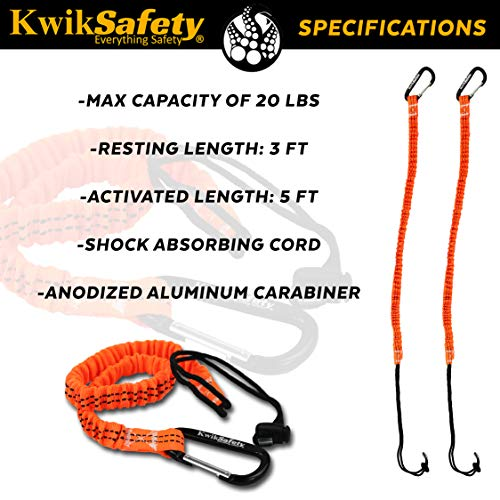 KwikSafety (Charlotte, NC) TENTACLE (3 PACK) Light Duty Tool Lanyard with  Aluminum Carabiner Clip Coiled Retractable Bungee Cord with Loop &