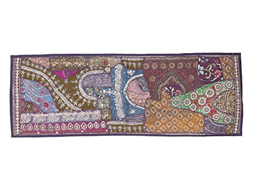 (HANDICRAFT-PALACE Ethnic Patchwork Tapestry Wall Hanging Beaded Embroidery Runner Throw Decorative Handmade Ethnic Art (Blue))