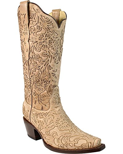 Corral Femmes Os Découpe Cowgirl Boot Snip Toe Beige / Kaki 8,5 M