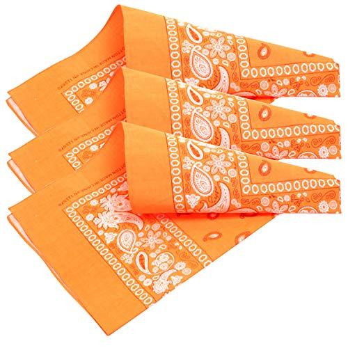 3 PK Cowboy Bandanas 100% Cotton 22 x 22 inch - Neon Orange