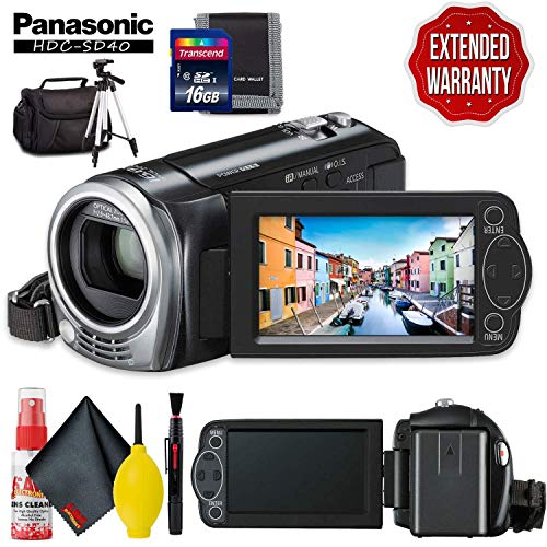 Panasonic HDC-SD40 High Definition Camcorder (Black) with Memory Card Kit, Carrying Case, Professional Tripod, Cleaning Kit and Extended Warranty (Sd40 Panasonic)