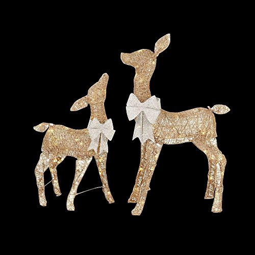 Home Accents Holiday 36 in. LED Lighted Gold PVC Deer and 28 in. LED Lighted Gold PVC Doe (Outdoor Decorations Reindeer)