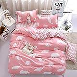 Bed Set Children Duvet Cover Set Flat Bed Sheet Pillowcase No Comforter 3pcs SJD Twin Full Queen Animal Cartoon Dolphin Bear Rabbit Designs for Kids Children (Polar Bear Dolphin, Pink, Twin, 59'x78')