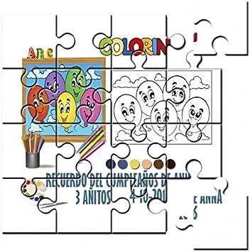 DUENDIN Puzzle Globos Personalizado para Colorear con Pinturas de ...