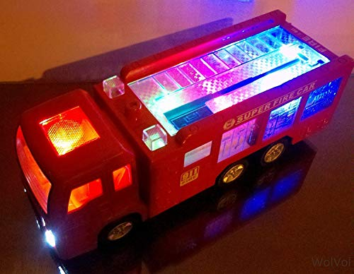 WolVol Electric Fire Truck Toy with Stunning 3D Lights and Sirens, goes Around and Changes Directions on Contact - Great Gift Toys for Kids]()