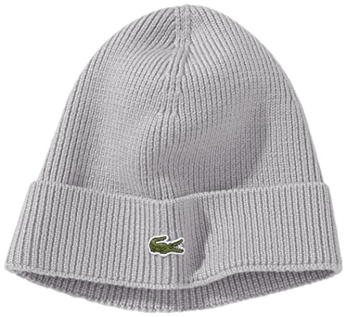 with Grau Flap Ribbed Grey Hombre Beanie CHINE CCA accesorios SILVER Lacoste qUgAW