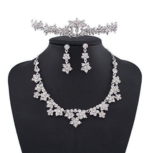 Wedding Pearl Crown Tiara Flower Rhinestone Crystal Neckalce and Earrings Jewelry Sets for Bridal