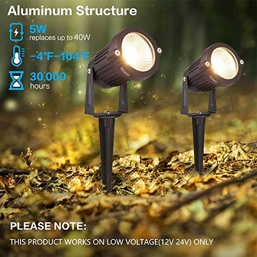 ZUCKEO 5W LED Landscape Lights with Transformer 12V 24V Waterproof Garden Pathway Lights Warm White Walls Trees Flags Outdoor Spotlights with Spike Stand (8 Pack with Transformer) by ZUCKEO (Image #3)