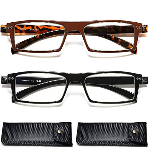 (Tortoise Shell Rectangular Reading Glasses- 2 Pairs TR90 Fashion Lightweight Magnification 1.25 Flexible Computer Readers Blue Light)