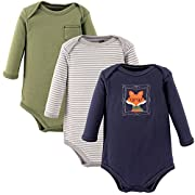 Hudson Baby Baby 3 Pack Long Sleeve Bodysuits, Fox, 0-3 Months