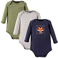 Hudson Baby Unisex 3 Pack Long Sleeve Bodysuits, Fox, 0-3 Months