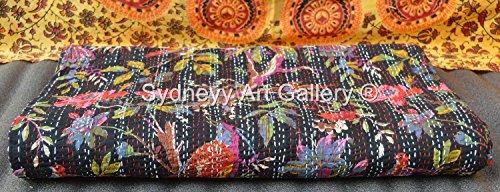 Sydneyy Art Gallery Indian Kantha Quilt, Bird of Paradise Kantha Blanket, Kantha Bohemian Bedding, Reversible Bedsheet / Bedspread Ethinic Vintage Decor. (King ()