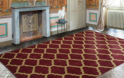 Edge Red Contemporary Rug - Ottomanson Royal Collection Contemporary Moroccan Trellis Design Area Rug, 7'10 X 9'10, Dark Red