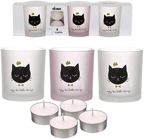 Dcasa - Pack de 3 candeles con 4 Velas de te Gatos: Amazon.es: Hogar