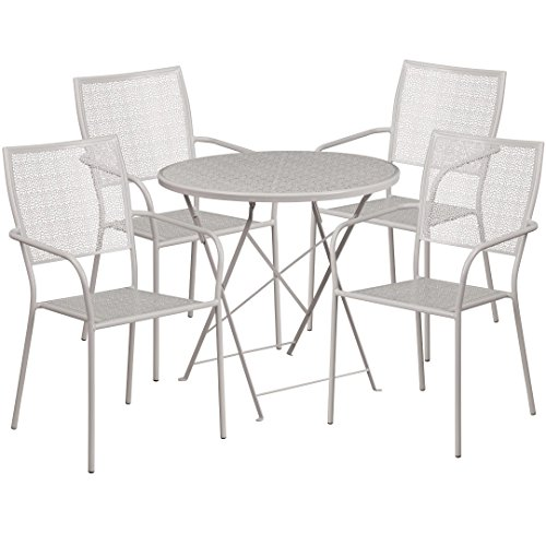 MFO 30'' Round Light Gray Indoor-Outdoor Steel Folding Patio Table Set with 4 Square Back Chairs