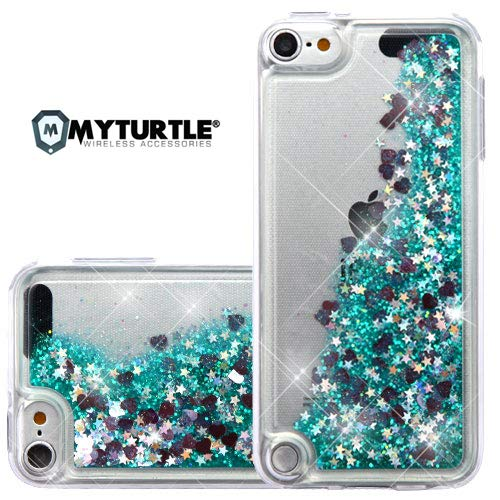MYTURTLE iPod Touch 7th 6th 5th Generation Case Shockproof Hybrid Hard Silicone Shell Impact Cover with Screen Protector for iPod Touch 7 (2019), iPod Touch 5/6 (2015), Quicksand Green Hearts Glitter