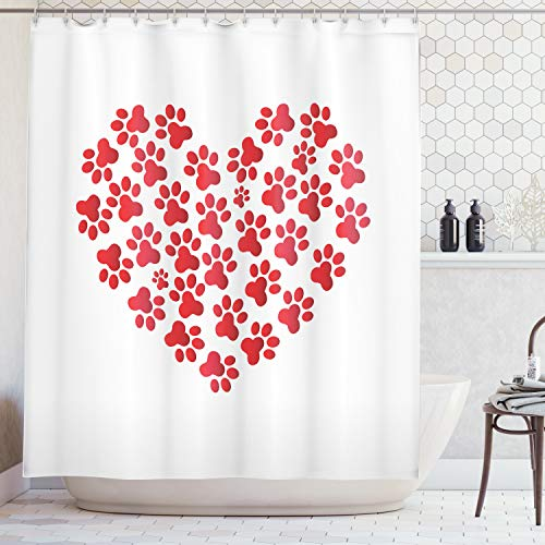 Ambesonne Cat Lover Decor Collection, Heart Shaped with Cat Dog Paw Prints Fashion Modern Romantic Fun Design, Polyester Fabric Bathroom Shower Curtain Set with Hooks, White Red
