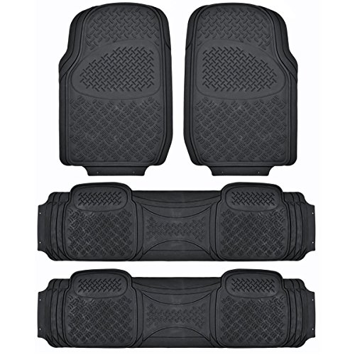 - BDK Heavy Duty VAN SUV Rubber Floor Mats - 4 Pieces 3 Rows Full Set - All Weather Trimmable Mat (Black)