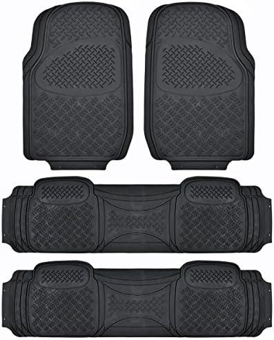 BDK Heavy Duty VAN SUV Rubber Floor Mats – 4 Pieces 3 Rows Full Set – All Weather Trimmable Mat (Black) – MT-713-711-BK