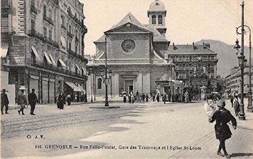 France Grenoble street scene trolley tracks people antique postcard Y2688