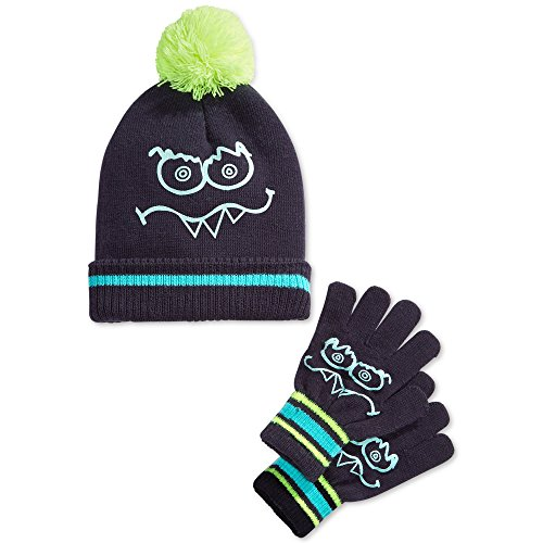 Osh Kosh Little Boys Glow In The Dark Funny Face Beanie & Gloves Set - Size 4-7