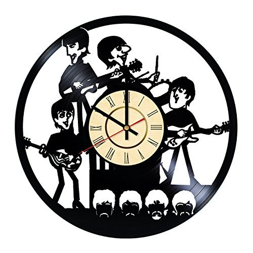 Fun Door The Beatles Comics Design Handmade Vinyl Record Wall Clock for Birthday Wedding Anniversary Valentine's Mother's Ideas for Men and Women him and her