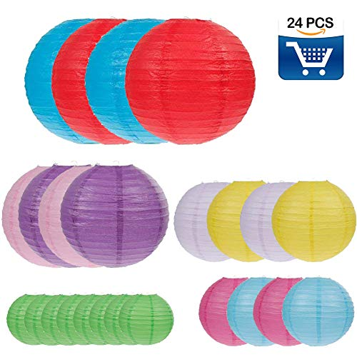 24 Packs Colorful Paper Lanterns Decoration for Weddings, Birthdays, Parties and Events - Assorted Round Sizes (4