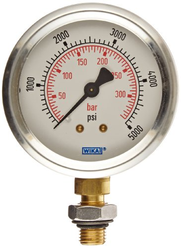 WIKA 9795710 Industrial Pressure Gauge, Liquid/Refillable, Copper Alloy Wetted Parts, 2-1/2