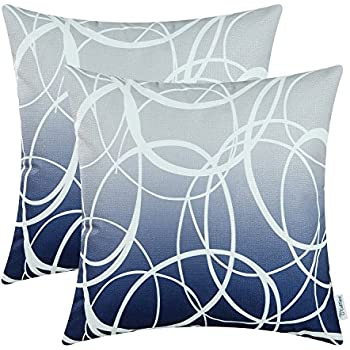 CaliTime Pack of 2 Soft Canvas Throw Pillow Covers Cases for Couch Sofa Home Decor Modern Gradient Ombre Circles Rings Both Sides 20 X 20 Inches Gray to Navy Blue