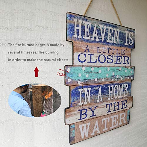 Evursua Rustic Wood Wall Signs Home Decor Wall Art Plaques Hanging Decorative Farmhouse Door Sign 12 x16,Family Rules or Sayings (Blue)
