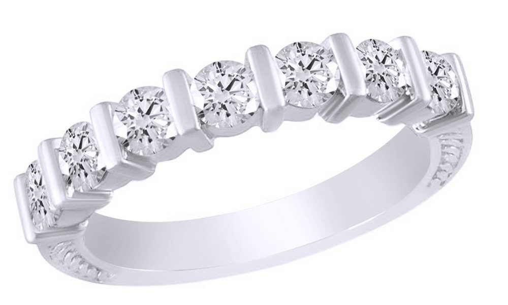 AFFY White Cubic Zirconia Anniversary Band Ring In 14k White Gold Over Sterling Silver (1.26 Cttw)