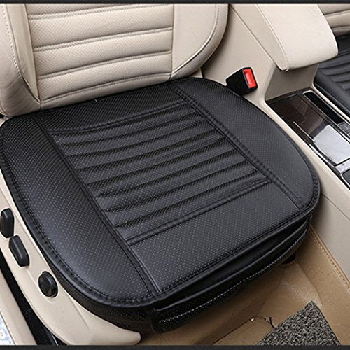 Seat Cover Cushion (2pc Edge Wrapping Car front Seat Cushion Cover Pad Mat for Auto Supplies Office Chair with PU Leather Bamboo Charcoal (Black))