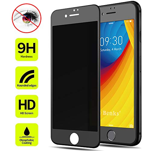 Screen Protector Tempered Glass, Benks Privacy Protective Film with Unbreakable Soft Frame and 0.23mm 3D Curve Edge Full Coverage (Black for Apple iPhone8 iPhone7, 4.7-Inch) ()