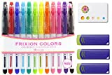 Pilot Frixion Erasable Coloring Pens 12 Pack with Sticky notes and 3 blue erasers – Multi Colored Dry Erase Markers, Comfy Grip, Retractable Clip On Cap – For Home, School, Students, Kids, Drawing